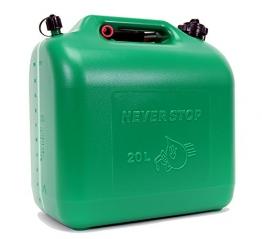 Never Stop Kraftstoffkanister Benzinkanister Reservekanister Kunststoff grün 20 Liter UN Zulassung - 1